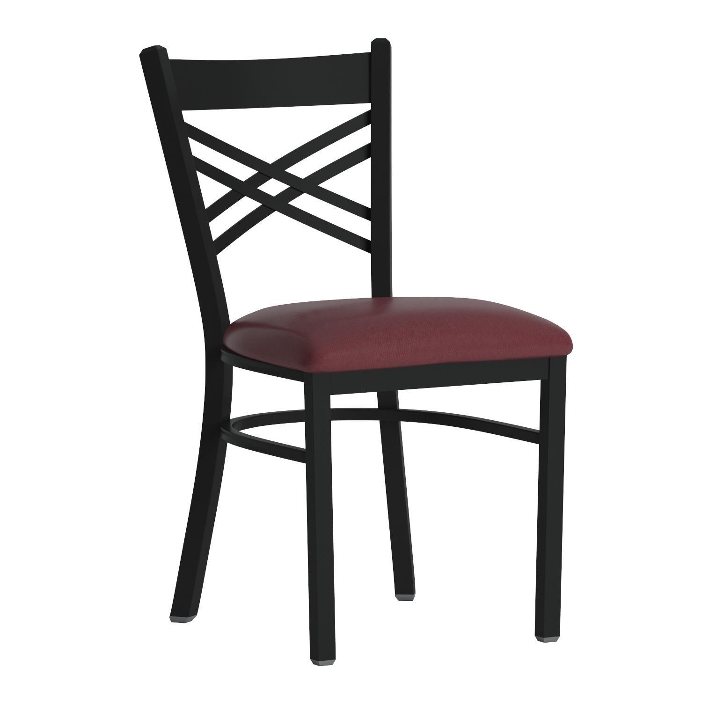 Flash Furniture HERCULES Series Black ''X'' Back Metal Restaurant Chair - Burgundy Vinyl Seat