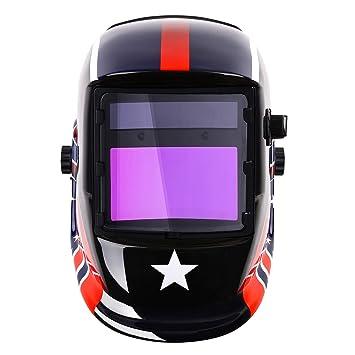 Casco de soldadura con energía solar, máscara de oscurecimiento automático con sombra ajustable de rango 4/9-13 para soldadura Mig Tig Arc capucha estilo ...