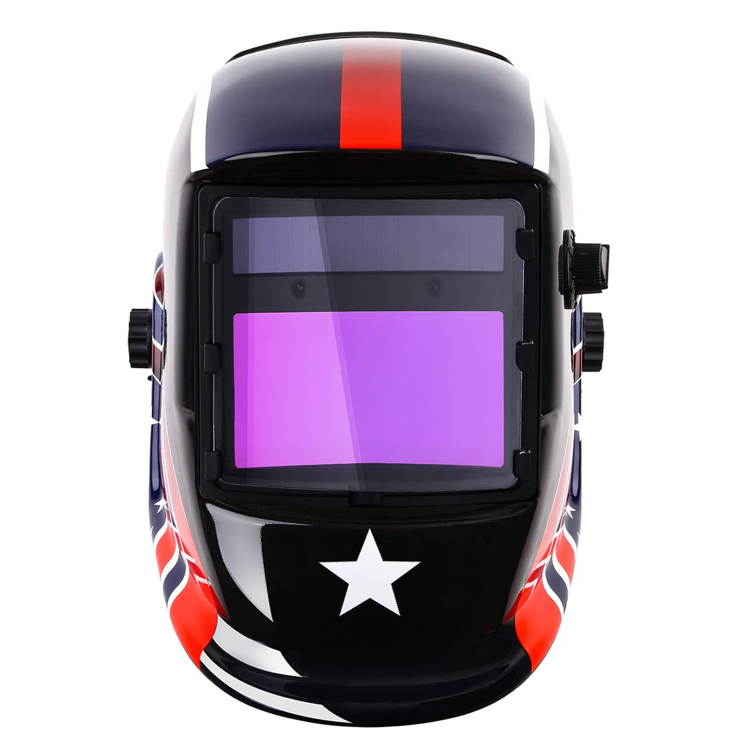 Solar Powered Welding Helmet Auto Darkening Mask with Adjustable Shade Range 4/9-13 for Mig Tig Arc Welding Hood National Flag Style