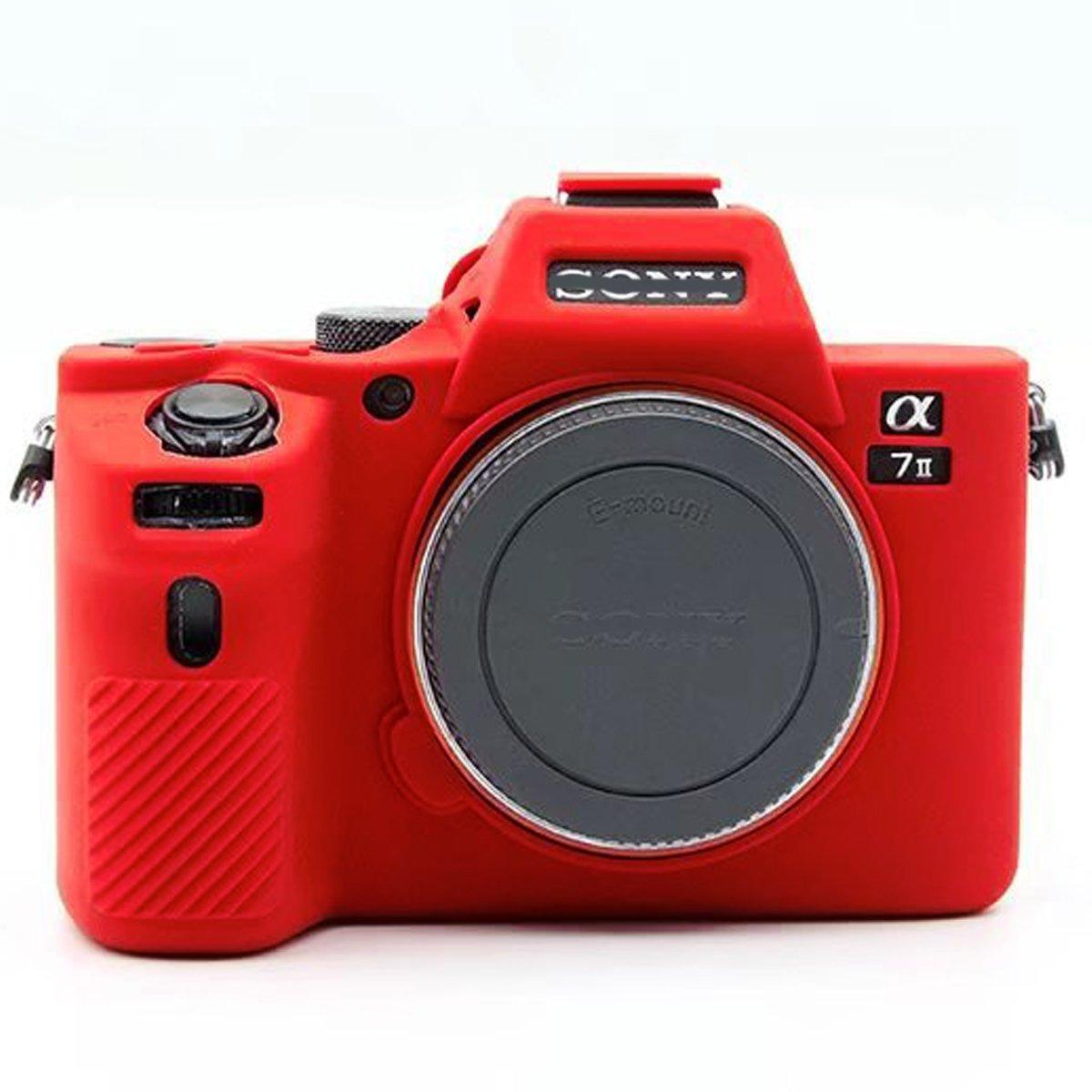 プロフェッショナル安全ソフトシリコンカメラケースバッグハウジングゴムボディスキンfor Sony Alpha a7ii a7r2 a7rii a7sii a7 Mark IIデジタルSLRカメラ保護ケース B07DGW3K3F レッド