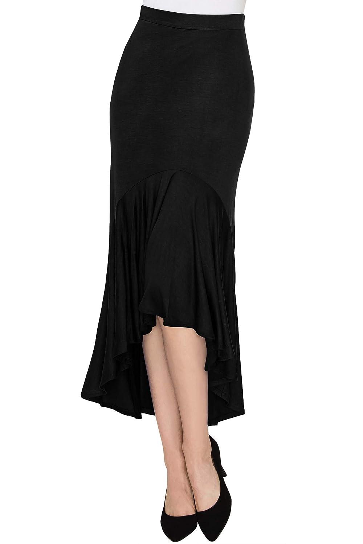 1920s Skirt History MBJ Womens Asymmetrical High Low Ruffle Hem Skirt - Made in USA $15.95 AT vintagedancer.com