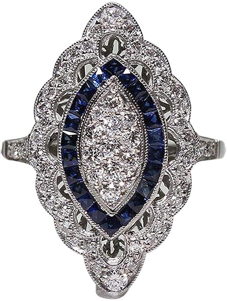Cosanter 1X Anillos De Moda para Mujer Moda Topacio Compromiso Anillos De Dama De Boda Anillo De Metal con Piedras Preciosas Artificiales Azules