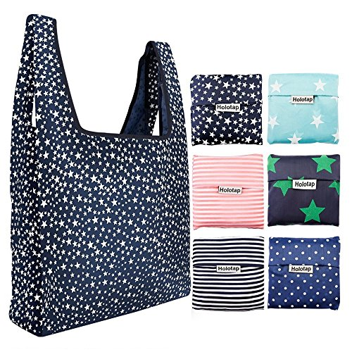 Foldable Reusable Grocery Bags 6 Pack Holotap Folding Shopping Tote Bag Fits in Pocket Nylon Reusable Produce Bags Washable, Durable and Lightweight (Multi Color)