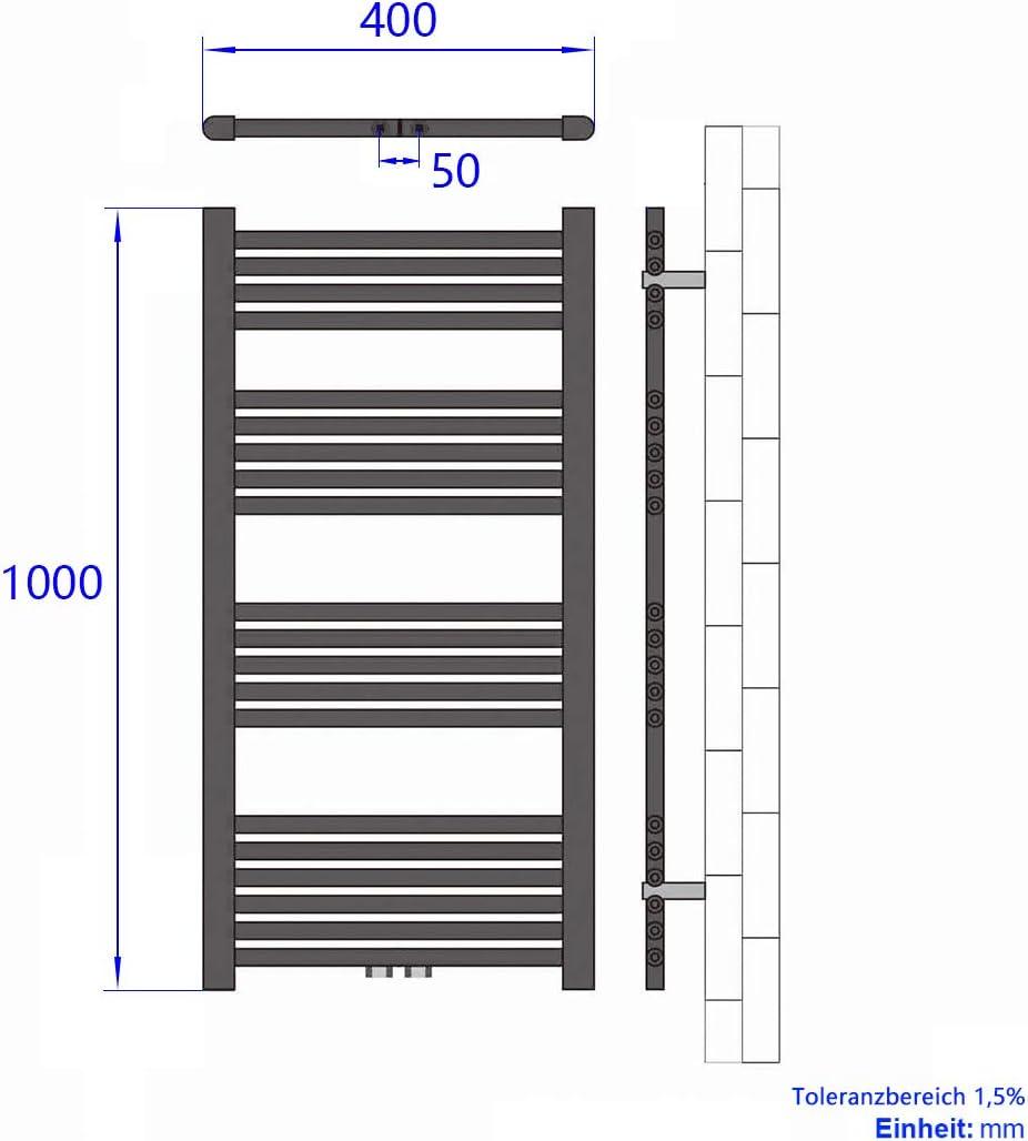EMKE Handtuchtrockner Heizk/örper 40x100cm 481 Watt Leistung Antrazit Bad-Heizk/örper Bad Mittelanschluss Heizung