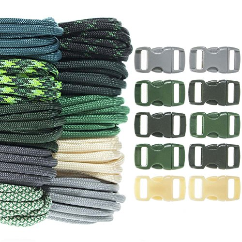 - Craft County Kids 550 Paracord Crafting DIY Kits - 100 Feet of Paracord and 10-3/8 Inch Buckles - for Arts and Crafts, Bracelets, Keychains, Lanyards (Malachite)