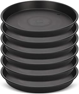 GROWNEER 6 Packs 12 Inches Plant Saucer Drip Trays, Suit for Pots Less Than 10 Inches Bottom Diameter, Round Plastic Plant Pot Saucers Flower Pot Tray for Indoor Outdoor Garden, Black