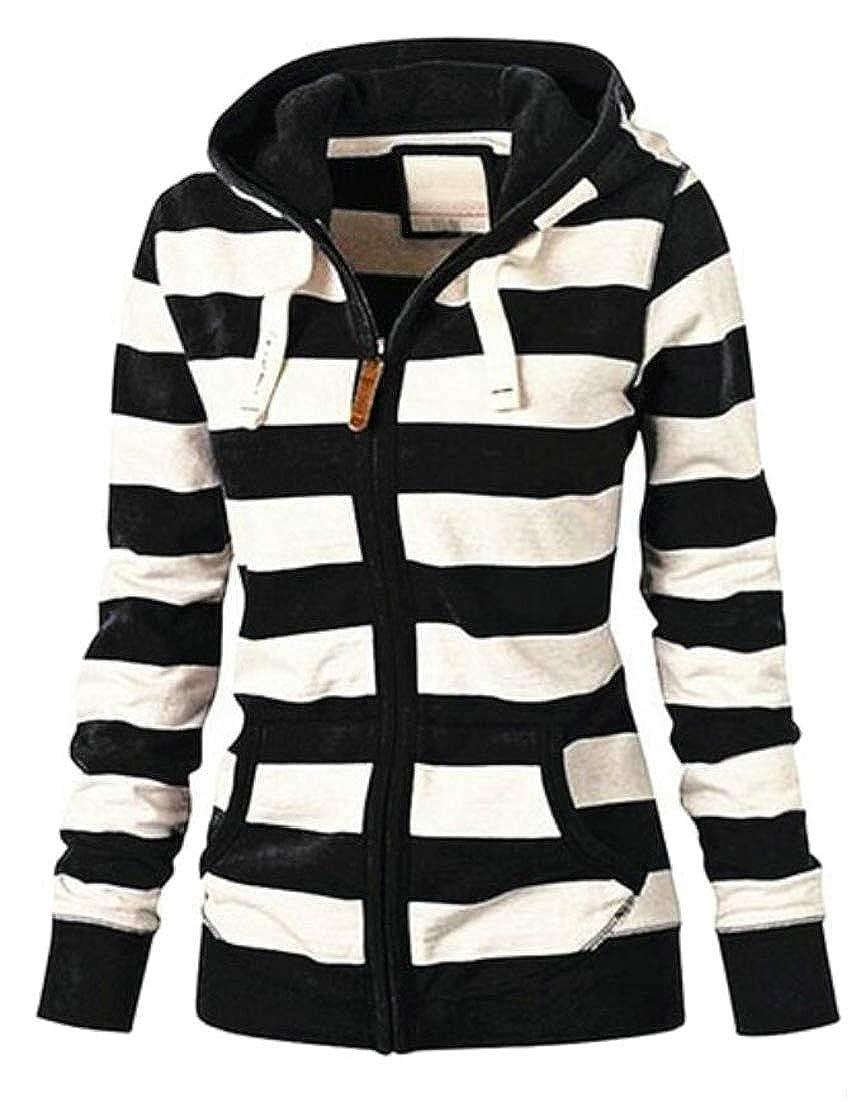 Generic Womens Casual Lightweight Sweatshirts Long Sleeve Zipper Striped Hoodies