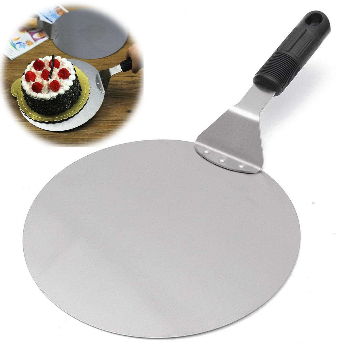 New Cake Pizza Transfer Shovel Baking Tools Stainless Steel Paddle Spatula Tray Pizza Moving Plate Pan Tableware Tools