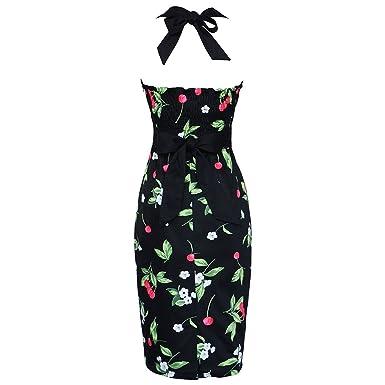 2c2fb372da6 Garyline 1950s 60s Retro Rockabilly Pinup Evening Vintage Halter Party Dress  Black CherrySmall
