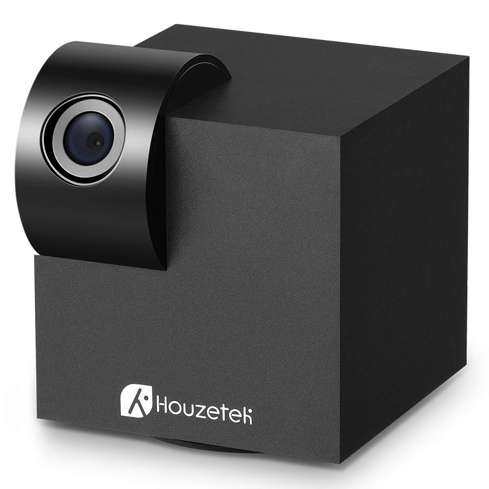 Houzetek-Wireless-Security-Surveillance-Indoor-Camera, WiFi IP Camera with Night Vision 1080P HD 360 Degree 2 Way Audio, Support Max 128GB TF Card, Amazon Alexa