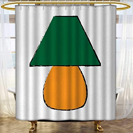 Anhounine Green And Orange Shower Curtain Customized Bicolor Desk Furniture Design With Grunge Inspirations Custom Made