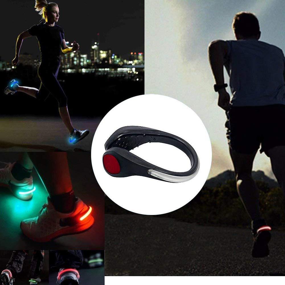 Andar en Bicicleta Trotar Danolt Zapatos Luces para Correr Esenciales para Correr de Noche 2PCS Luces de Clip de Seguridad de Zapato de Flash LED Luces de Clip de Zapatos es Adecuado para Correr