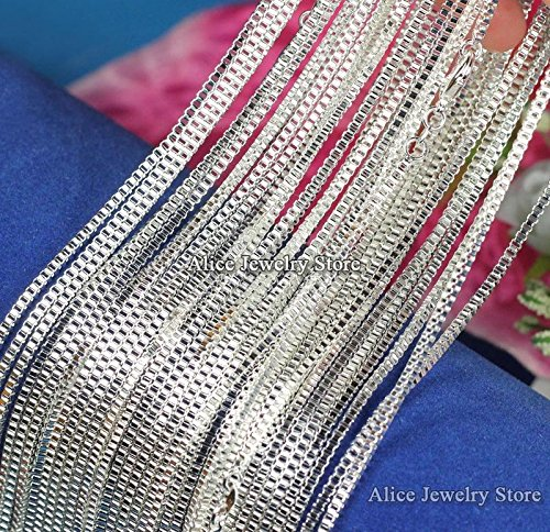 Silver Platinum Plated Box Chain Necklace 925 Italy Silver 0.8mm 1mm 16