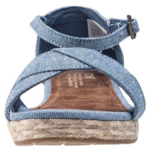 Harper Wedge Schuh blue slub chambray Chambray