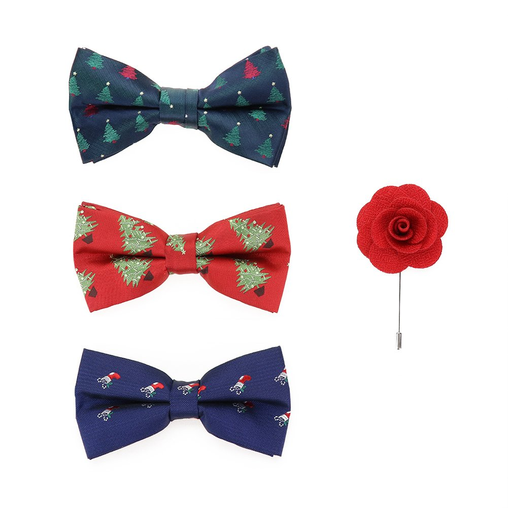 Handmade Christmas Xmas Bow Tie Sets Flower Brooch 3+1 PCS May Lucky