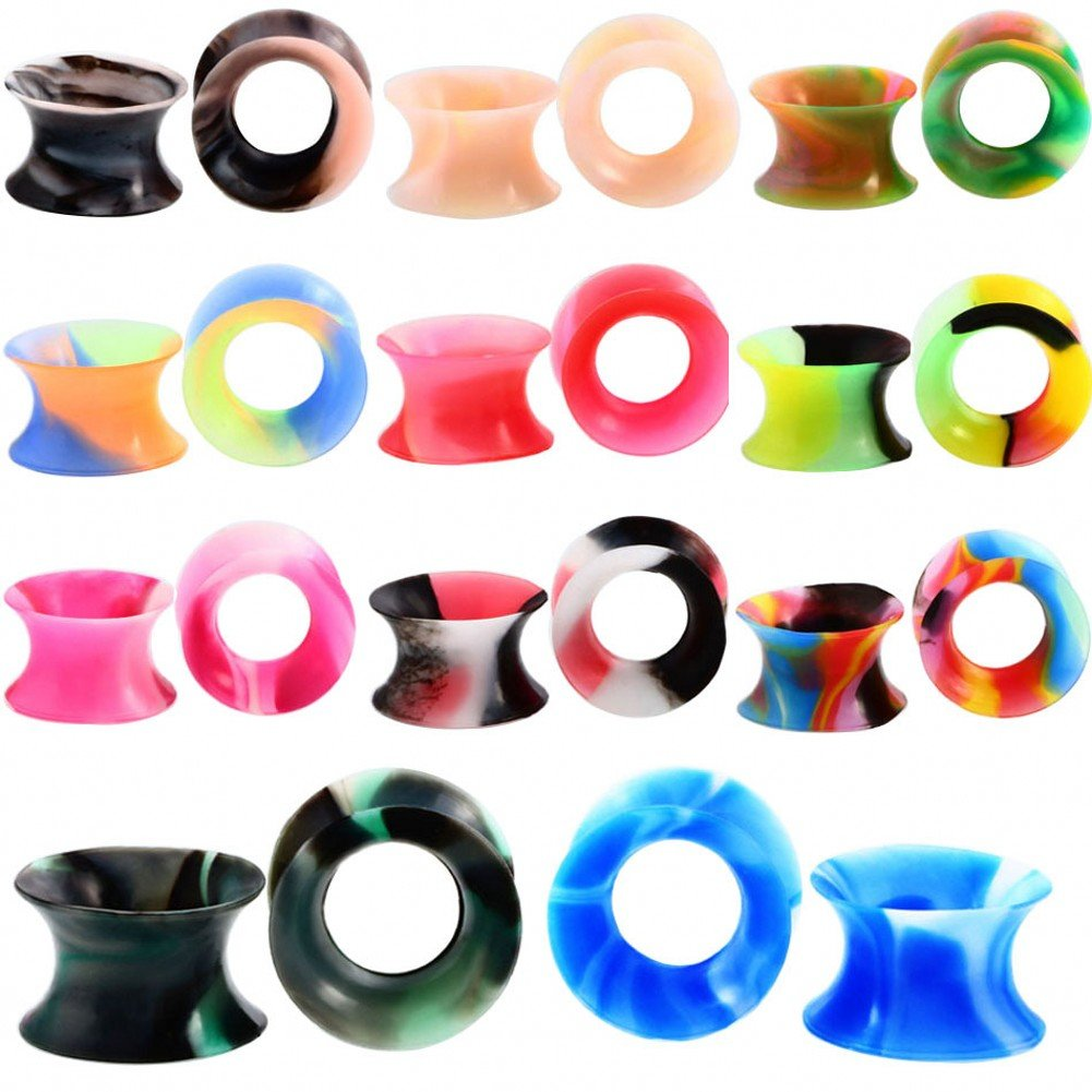IPINK-11 Pairs Silicone Flexible Thin Ear Plugs Tunnels Double Flared Expander Ear Gauges Piercing