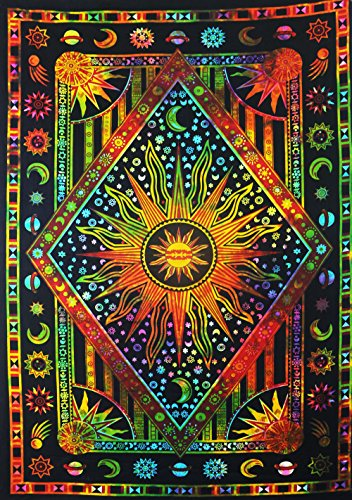 Future Handmade Mandala Multi color Sun moon tie dye twin tapestry wall tapestry hippie tapestry wall hanging mandala beach throw boho tapestries bohe…