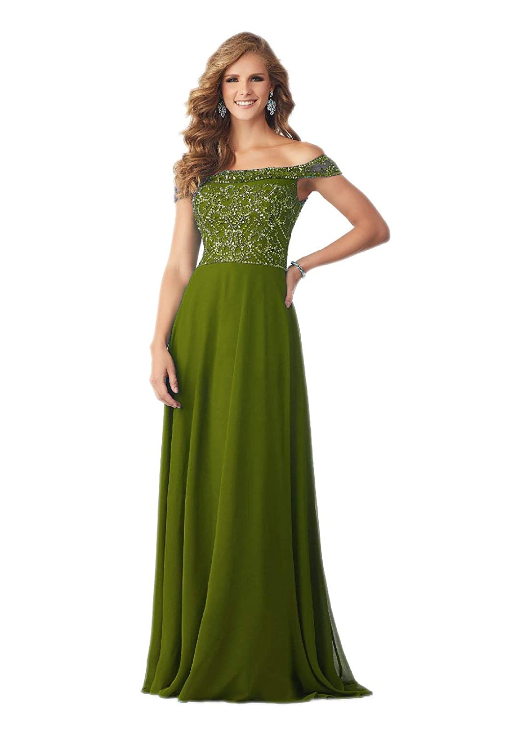 Women s Off The Shoulder Chiffon Beaded Dress Mother of The Bride Dresses  Plus Size Champagne at Amazon Women s Clothing store  080d1dda0b