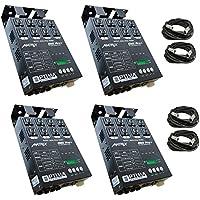 4 x MATRIX DMX PRO 4Ch. Double Output Dimmer Pack System w/ 4x XLR DMX Cables