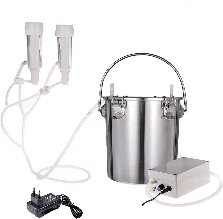 cow Tnfeeon Milking Machine 2L Electric Milking Cluster Vacuum Pump Milker Portable Breast Pump Cow Sheep Milking Machine UK Plug