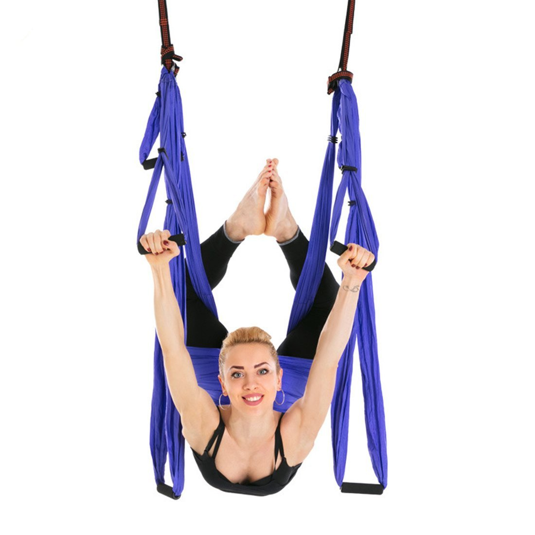 Ranbo Yoga Inversion Swing - Anti-Gravity Aerial Trapeze - Flying Hammock Sling - Relieves Back Pains, Improves your Strength, Balance, Flexibility and Endurance (Light purple)