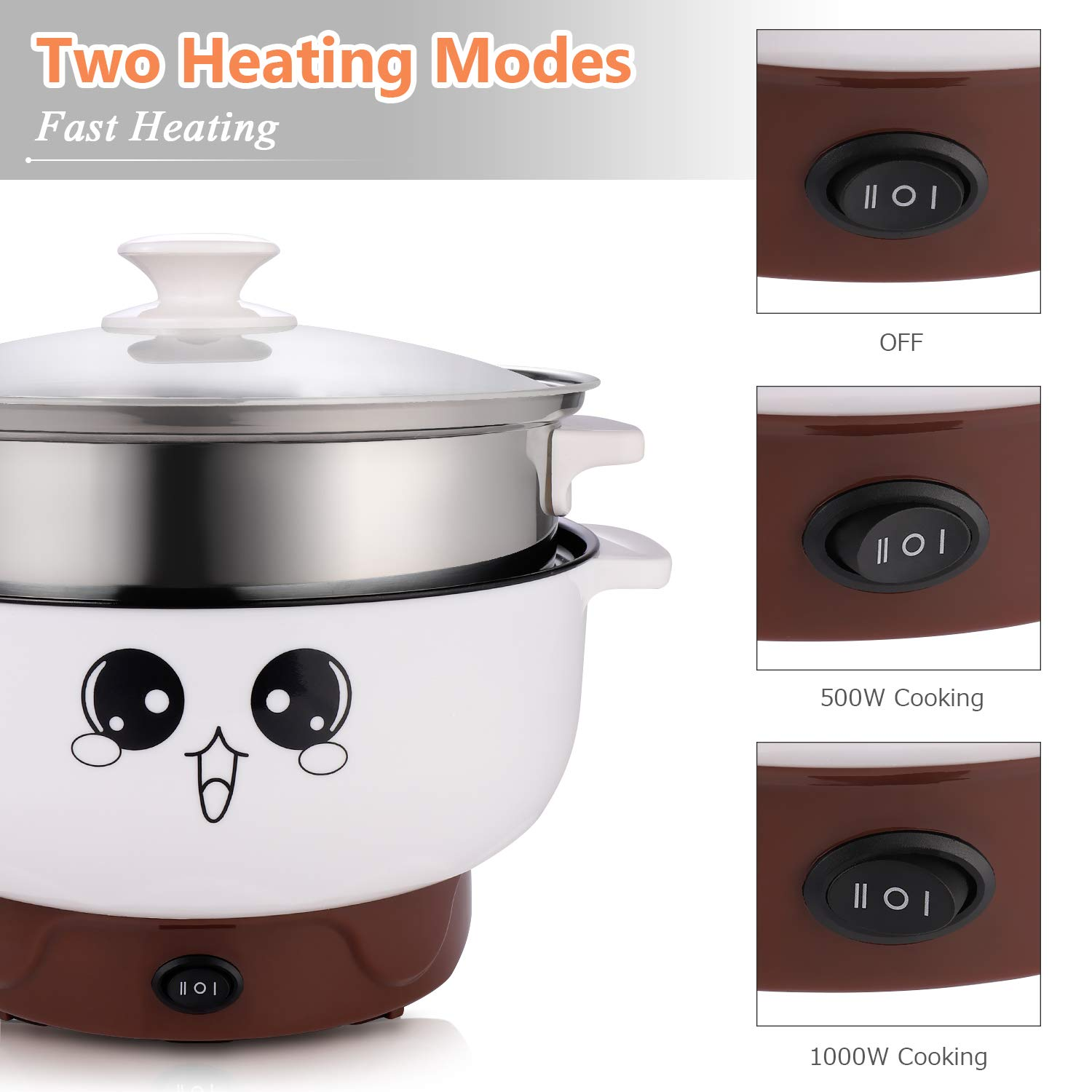 1000W Electric Cooker Heating Pan Cooking Pot Hotpot Steamer Noodles Rice  /%#*