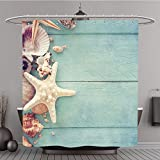 Shower Curtain 235564180 Concept of the summer time with fish star and sea shells on the wooden blue background Polyester Fabric bath curtain