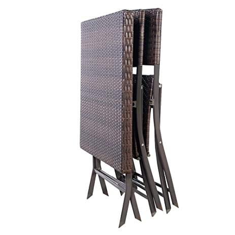 LXQ 3 PC Outdoor Folding Table Chair Furniture Set Rattan Wicker Bistro  Patio Brown