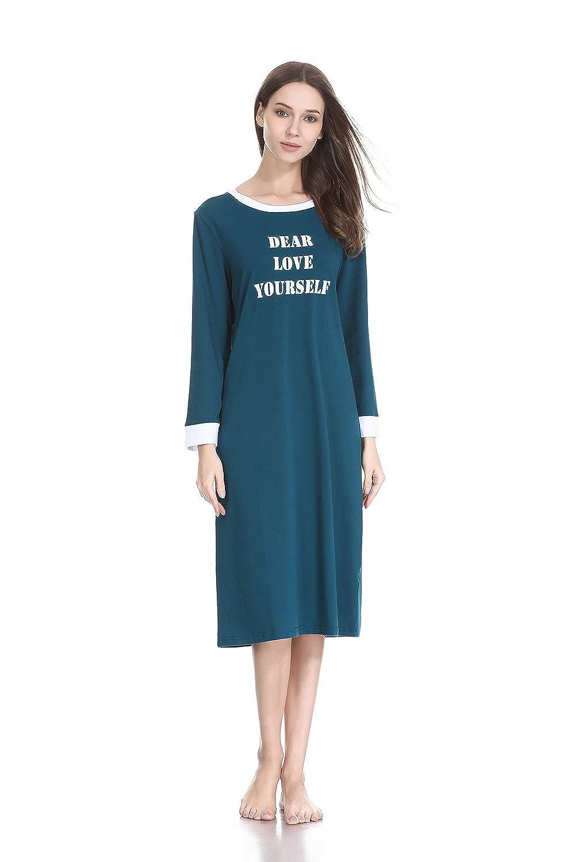 bluee lantisan Cotton Knit Long Nightgown Women, Knee Length Loose Fit Cmfy Nightshirt