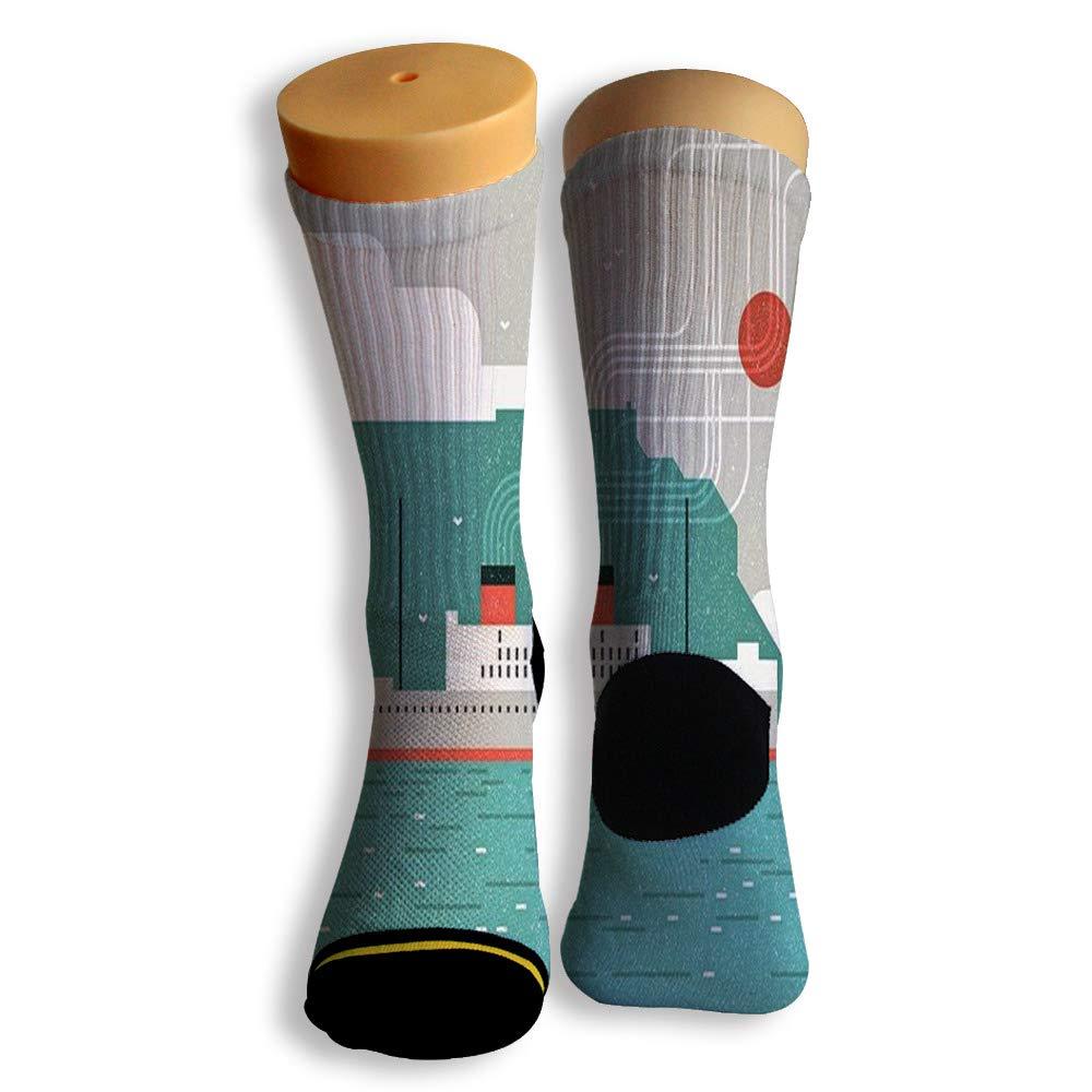 Basketball Soccer Baseball Socks by Potooy Luxury Passenger Ship 3D Print Cushion Athletic Crew Socks for Men Women