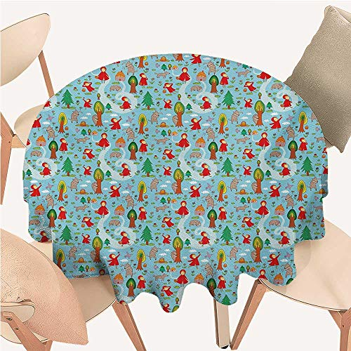 ScottDecor Fantasy Non Slip Tablecloth Red Riding Hood Tale Themed Illustration with House and Big Bad Wold in The Forest tablecloths for Round Tables ()