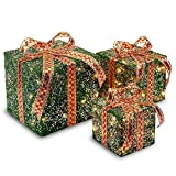 Set of 3 Green Christmas Decorative Gift Boxes Table Toppers - Clear Lights 10''