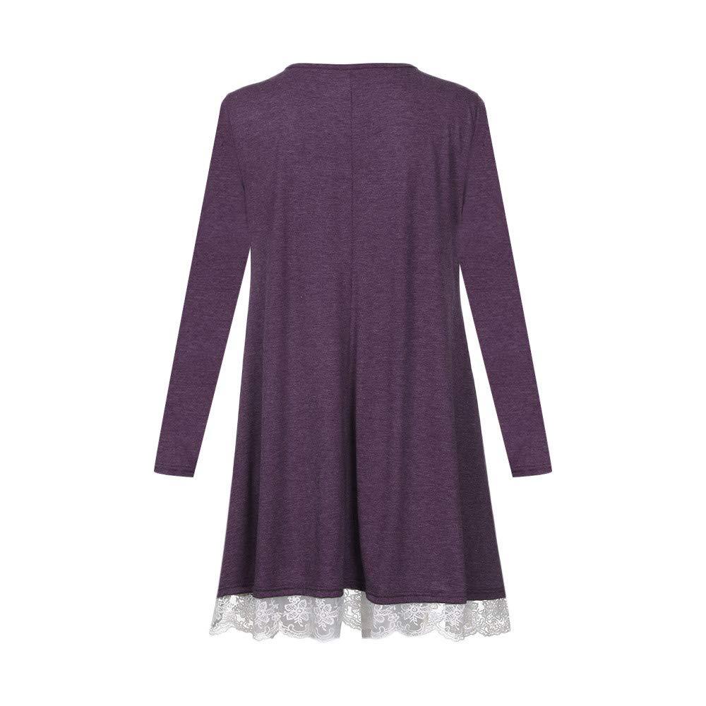 DEELIN Damen Bluse Langarm-Baumwollspitze T-Shirt Kleid mit Taschen