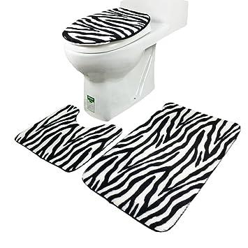 Da Wa Zebra Striped Pattern Anti Rutsch 3 Stuck Badteppich Sets