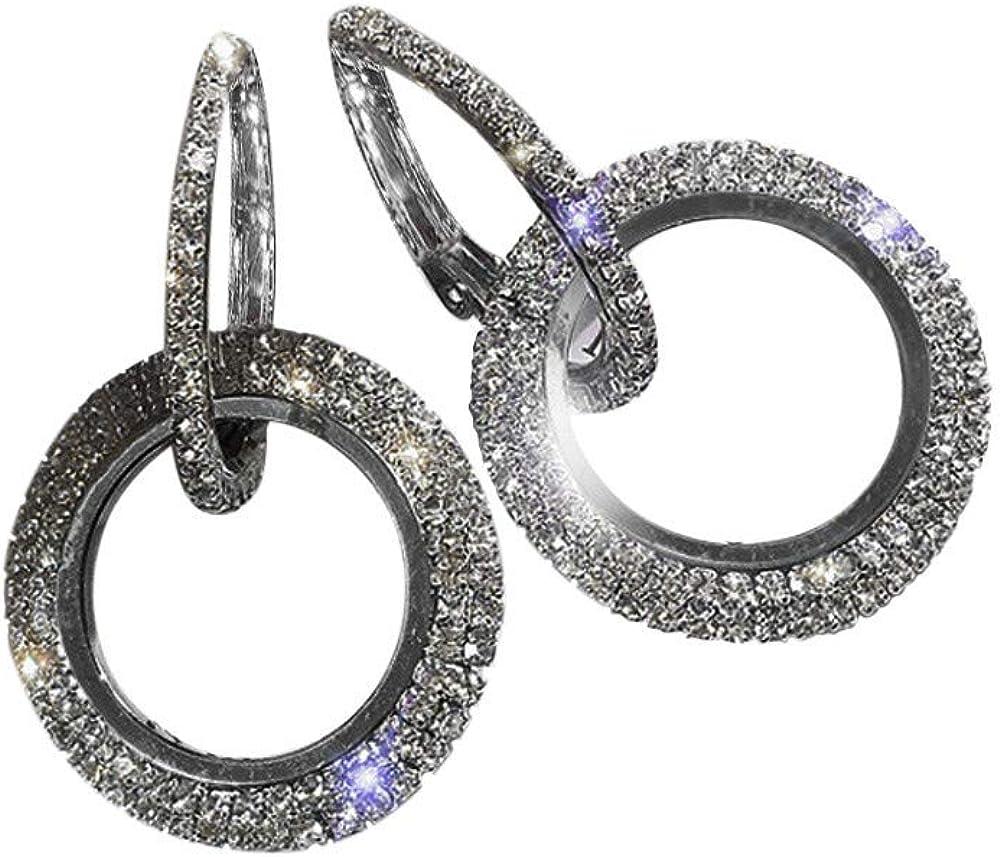 Femmes Cadeau De Mariage Cercle Banquet Jewelry Gemstone Ear Clip Cerceau Argent Boucles d/'oreilles
