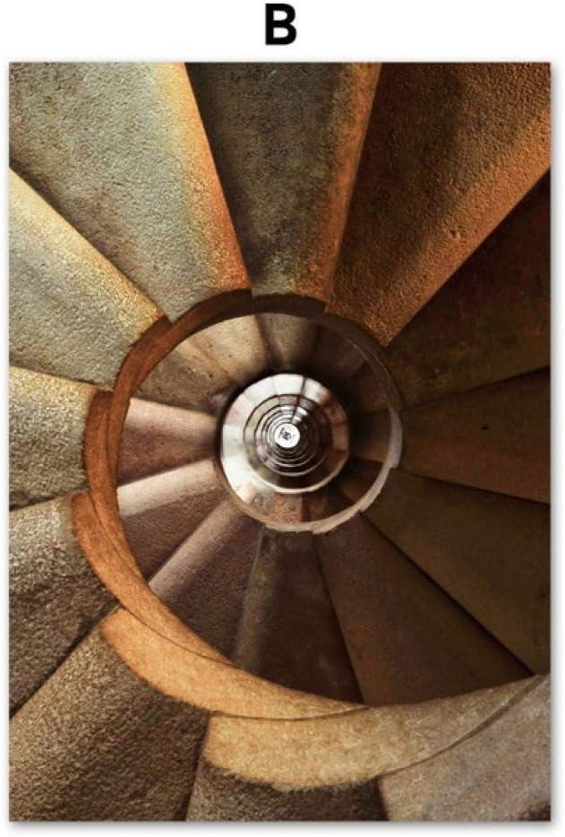 TYLPK Escalera de Caracol Arquitectura Paisaje Lienzo Pintura Mural B2 40X50 cm Sin Marco: Amazon.es: Hogar