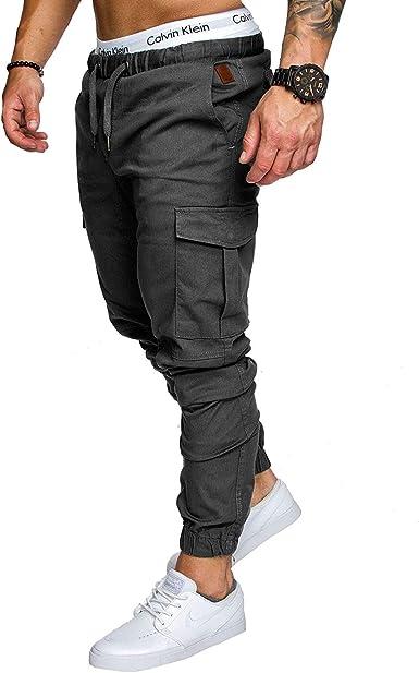 HX fashion Pantalones Casuales De Los Hombres con Bolsillos ...