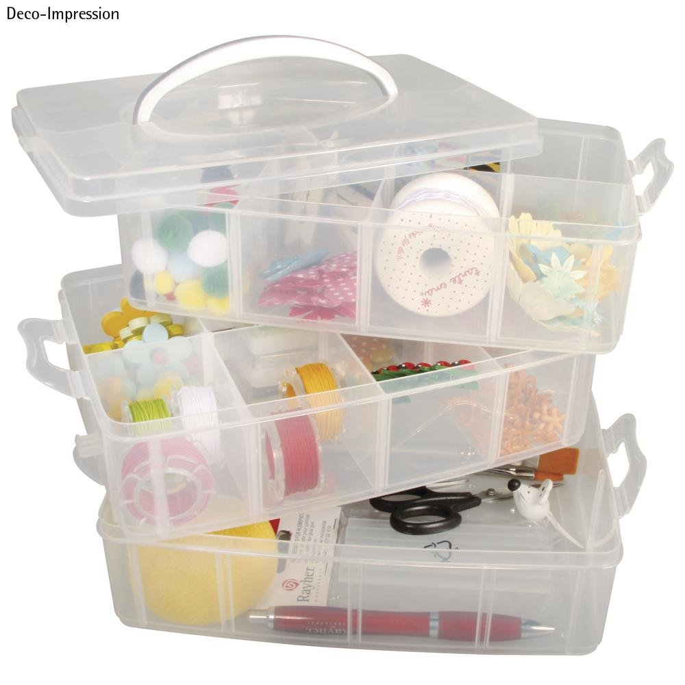 Estupendo maletín organizador con múltiples compartimentos y asa para transportar.