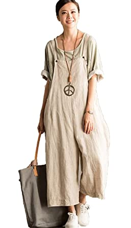 cc05cc1c966 FantasyLinen Jumpsuits For Women Plus Size Linen Overalls Rice White