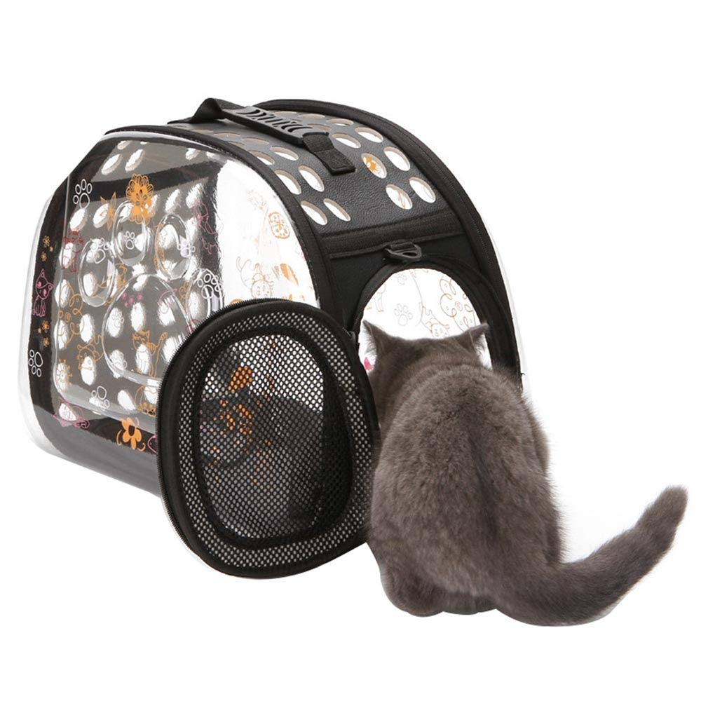 Ushang Transparent Breathable Waterproof Cat Carriers Bag Travel Outdoor Pet Bag Foldable Puppy Rabbit Small Animal Handbag Crate