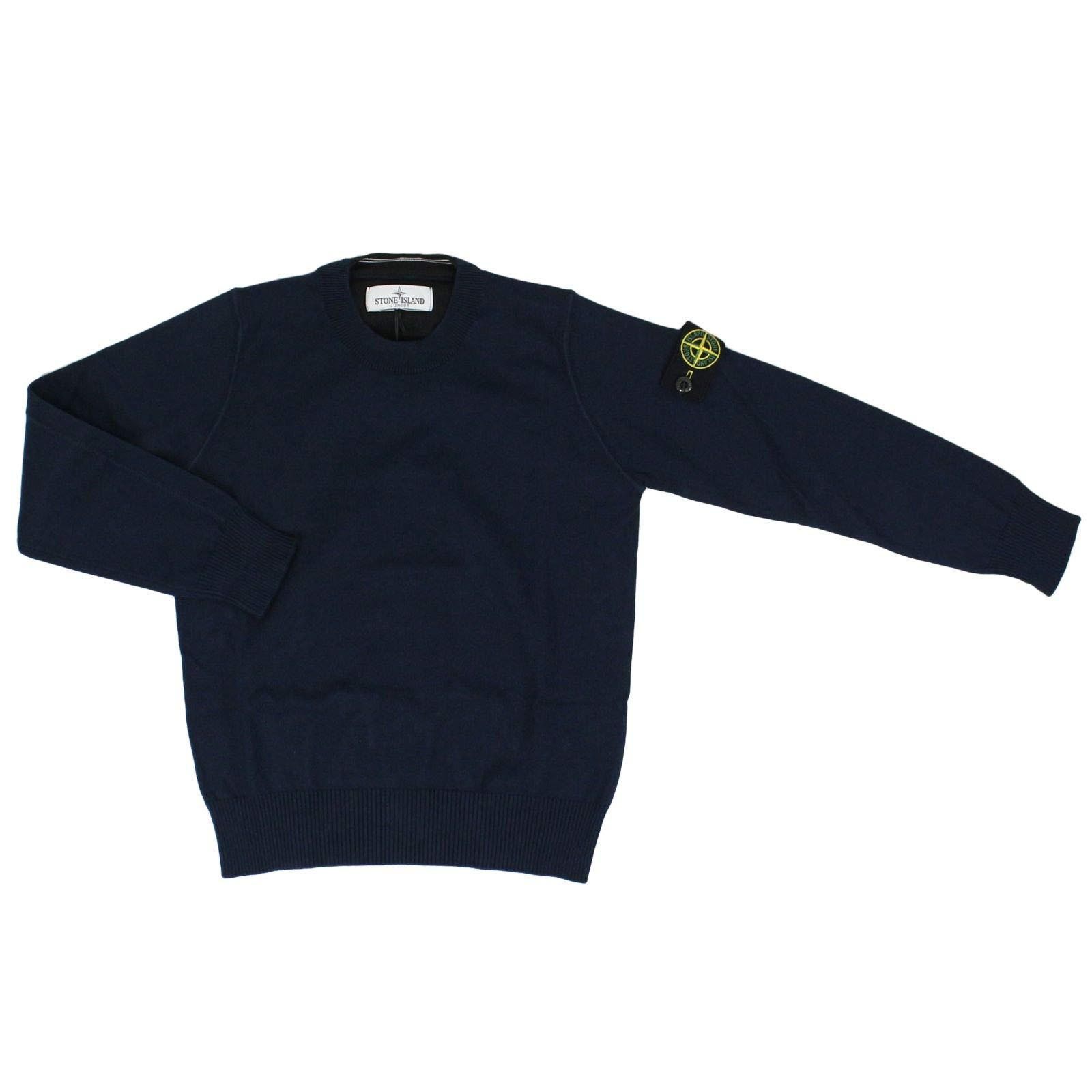 Stone Island Boys 7016504A4v0020 Blue Cotton Sweater