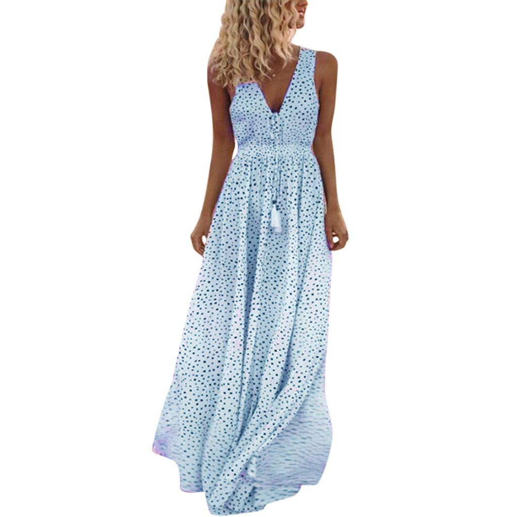 Women's Bohemian Floral Printed Long Dress Wrap Tie Neck Sleeveless Camisole Dress Dot Print Beach Party Maxi Dress Blue