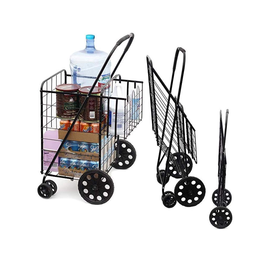 Portable Double Basket Heavy-Duty Folding Shopping Cart w/Front Swivel Wheels - Fits in Trunk OR Back Seat - Never Make Two Grocery Trips Again - 300 LB Weight Capacity (No Liner)