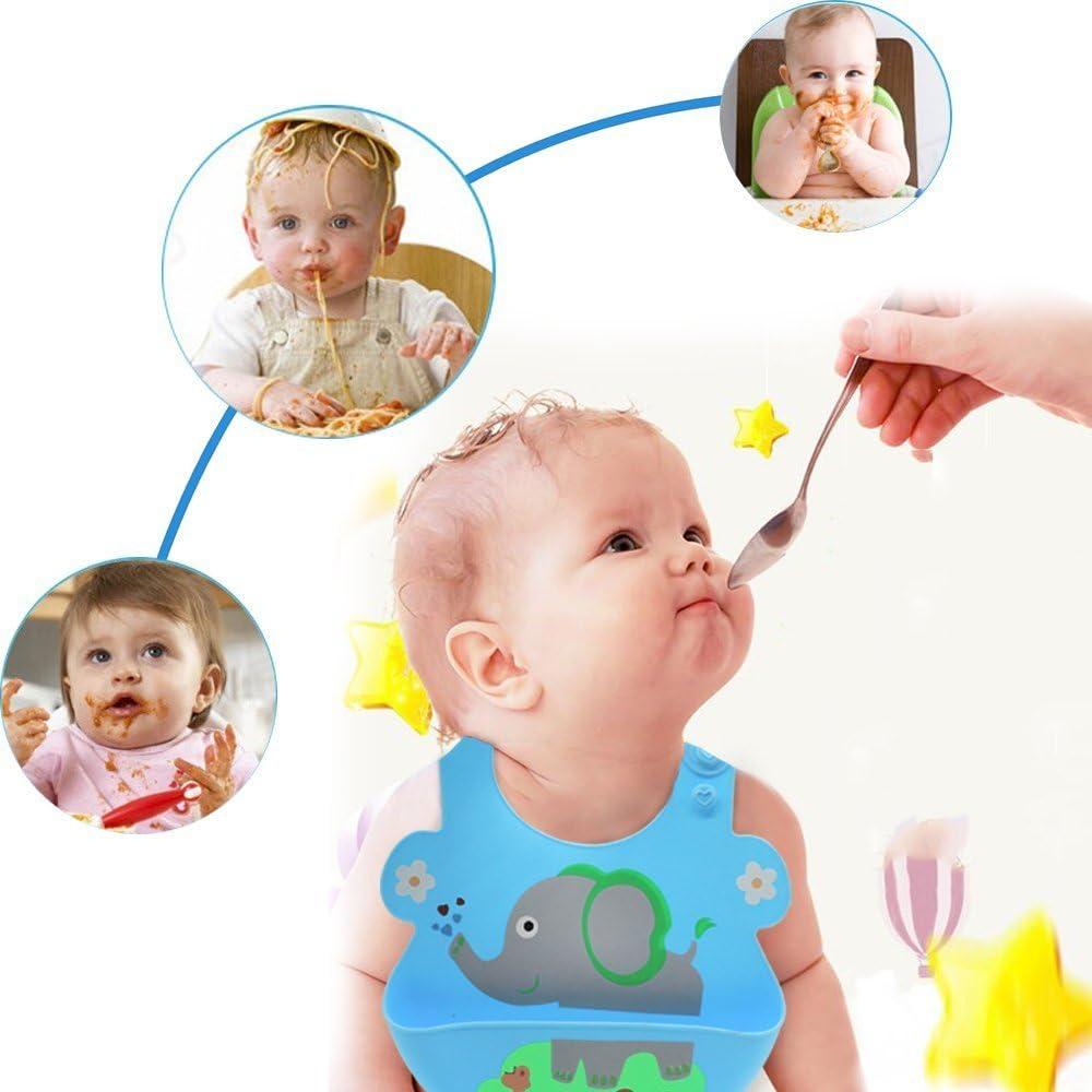 con scomparto per la caduta del cibo; per bimbi o bimbe dai 6 ai 72 mesi morbidi e regolabili per bambini e neonati Set di bavaglini impermeabili in silicone; comodi ; facilmente lavabili
