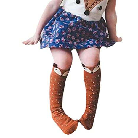 Malloom® Niños Niños Niñas Zorro Patrón Rodillera calcetines altos para la edad de 0-