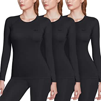 TSLA Women's (Pack of 1, 3) Long Sleeve T-Shirt Baselayer Cool Dry Compression Top Round Neck/Mock Neck