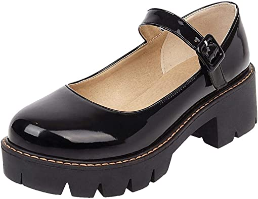 Caradise Womens Chunky Platform Mary Janes School Cosplay Uniform Shoes