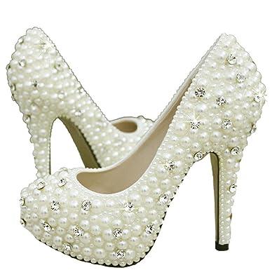 9787c879994 getmorebeauty Women s Diamante Full Toe Pearls Prom Dress Wedding Shoes 6  B(M) US