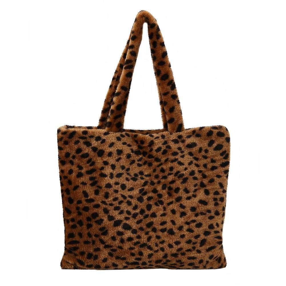 AFFEco Fashion Women Tote Plush Leopard Print Handbag Shoulder Top-handle Bags
