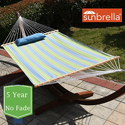 Lazy Daze Hammocks Sunbrella Fabric Hammock, pillow and 12 Feet Wood Arc Stand, Backyard Combo Set, Bravada Limelite